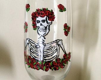 Hand Painted Halloween Skeleton Wine Glasses