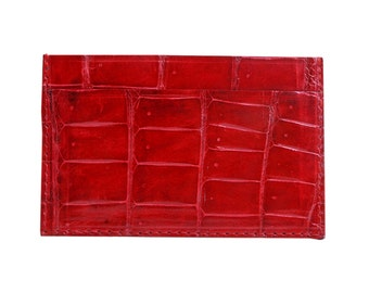 Card holder red crocodile