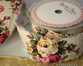 Vintage Floral Print Pattern - Raw Edge Burlap Ribbon - 50 mm - Beautiful Vintage Look - Available by the Metre - UK Seller