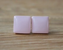 Pink Stud Earrings.  BALLERINA PINK SQUARE Studs. Surgical Steel Posts.