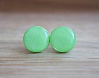 Green Stud Earrings - APPLE GREEN GLIMMER studs - green studs - green earrings - Surgical steel posts.