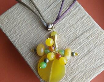 Agate pendant, Carnelian and jade