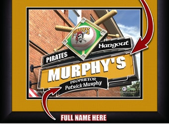 "Pittsburgh Pirates MLB Baseball Framed Personalized Hangout Sign Sports  Home  Decor 15""x18"" Free Shipping"