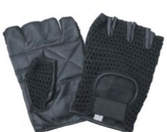 Black Mesh Fingerless Leather Gloves with Velcro Tab