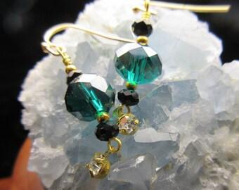 Gold Dark Sea Blue Crystal Swarovski Dangle Earrings