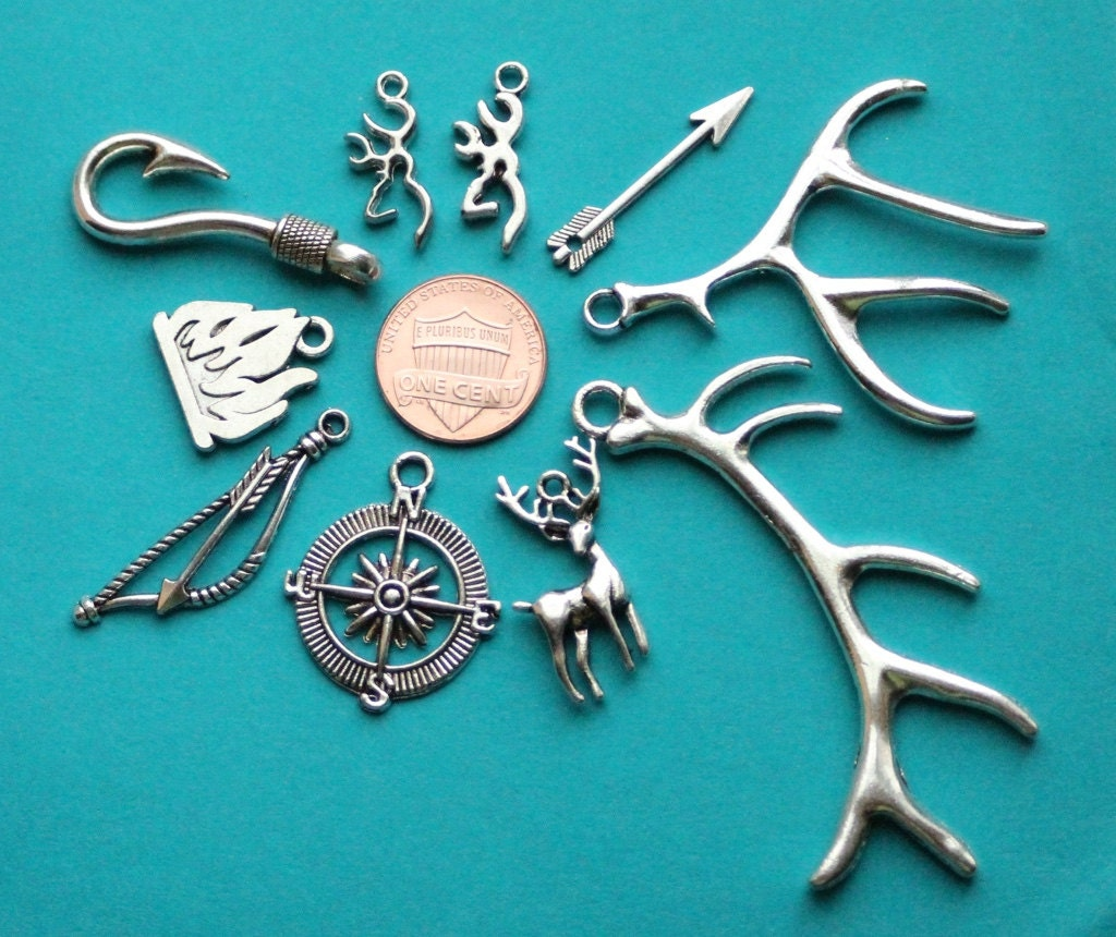 Add on charm elk charm deer charm fishing charm fish hook for Fish hook charm