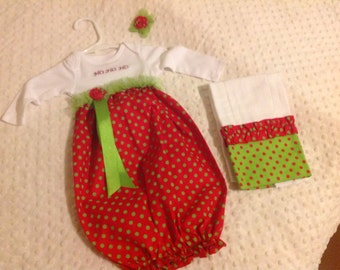 Infant sack dress with burpcloth and bow