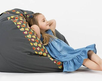 Bean bag with hearts, pouf with handle for children and teenager indoor / outdoor, garden, terrace