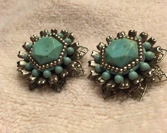 Silver and Turquoise Costume Earrings