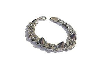 Silver Brass Spike Bracelet | Spiked Bracelet | Gunmetal Bracelet | Spike Chain | Spike Chain Bracelet | Chain Bracelet | Gunmetal Bracelet