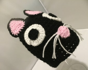 Black cat hat // Black cat Halloween hat // Bkack cat // gift for cat lovers // great stocking filler // cat accessorie
