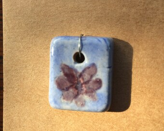 Pendant bead periwinkle background with purple flower stoneware ceramic clay #326