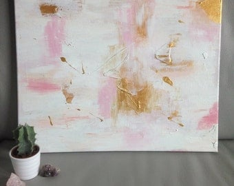 Original Abstract Art - Pink-Industrial Textural Study - A2 Canvas