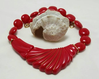 1980's Red Resin Necklace