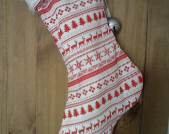 Scandi Christmas Stocking with Fur Cuff and Jingle Bell