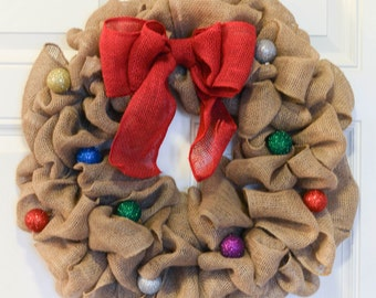 Christmas Burlap Wreath  - Winter Wreath, Christmas Wreath, Christmas Ornament Wreath, Ornament Wreath,  Christmas Wreath Burlap