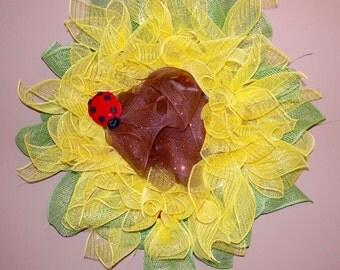 Flower Wreath, Sunflower Wreath, Ladybug Wreath, Mesh Wreath, Summer Wreath