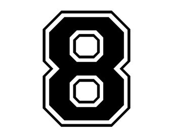 Iron on number 8 for t shirt transfer instant download