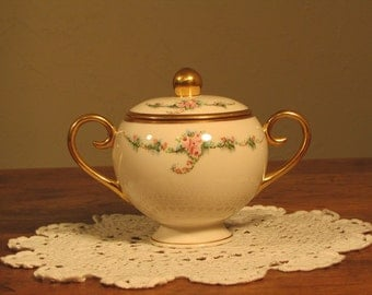 Ransgil China Sugar Bowl with Lid, June Rose Pattern, Pink Roses, Blue Flowers, Gold Trim, Vintage