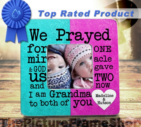 Grandma Of Twins Frame Gift Grandparents Of Twins Gift Frame