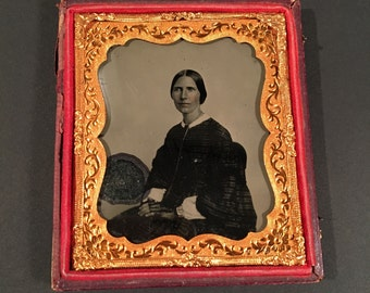 Ruby Glass Ambrotype of a Woman - Authentic Antique Photo in Backing Case