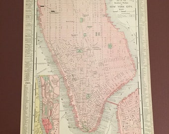 1895 Map of New York City, Antique Map of Manhattan and Brooklyn, Original Rand McNally Map
