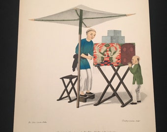 High-Quality Print - A Man With a Raree Show, Large Hand-Colored Lithograph on Heavy Paper