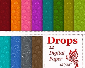 Drops Digital Paper scrapbooking Instant download Drops pattern drops on glass drops on the surface Rain drops Personal and Commercial use