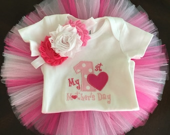 My First Mothers Day Tutu Outfit | My 1st Mothers Days Outfit | Embroidered Onesie