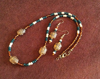 Turtle Bead Necklace and Earring Set, Native American Inspired