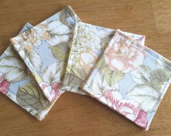 Set of 4 Revsible Floral Coasters