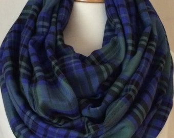 Plaid Lightweight Infinity Scarf Gift for Her Fall Christmas Winter Tube Scarfs Scarves Green Blue