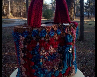 Handmade crocheted handbag/canvas lined tote