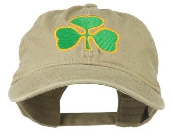 St. Patrick's Day Clover Embroidered Washed Cap