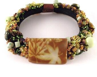 Forrest Floor- Beaded soft bracelet