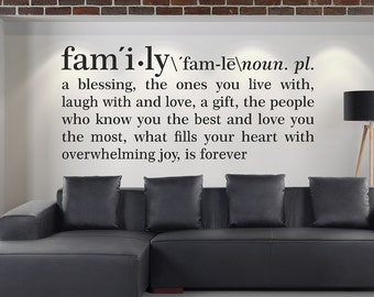 Family Definition Wall Decal Dictionary Art Vinyl Stickers