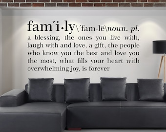 Family definition wall decal, Dictionary definition Decal, Wall art, Wall vinyl stickers, Home decor, Wall decor, Definition decal 182