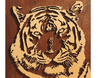 3d Tiger, with laser carved wall decoration from wood