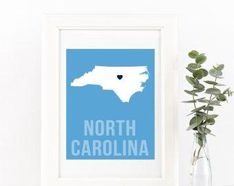 North Carolina Home Print – Custom North Carolina Print, UNC print, North Carolina Wall Art