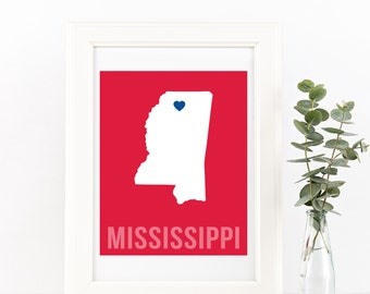 Mississippi Home Print – Custom Mississippi Print, Mississippi Wall Art