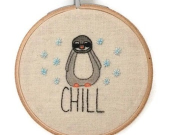 Penguin embroidery, embroidery hoop art, embroidery wall art