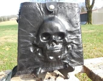 Black Leather Skull Purse / Shoulder Bag