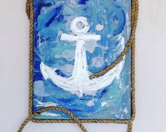 Nautical anchor wall hanging, anchor wall decor, nautical wall decor, fishing wall decor, nautical painting, anchor painting, abstract