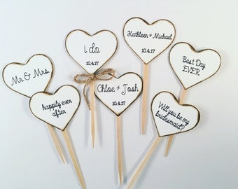 Rustic Heart Cupcake Toppers for Weddings and Bridal Showers. Cupcake Toppers Comes In White Or Cream Hearts. Personalizing Available.