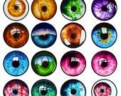 Color Eyes Dragon Cat Animal Random Sizes Vampix Circle Circles Digital Collage Sheet Glass Cabochon, Jewelry Supplies Great for Bo
