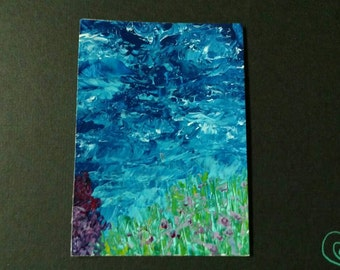 In the Deep - acrylic abstract ACEO ATC