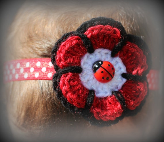 Ladybug Headband, Crochet Flower  Baby Headband, Red and Black Headband, Lady Bug Baby Headband, Baby Headband, Toddler Headband, Baby Gift