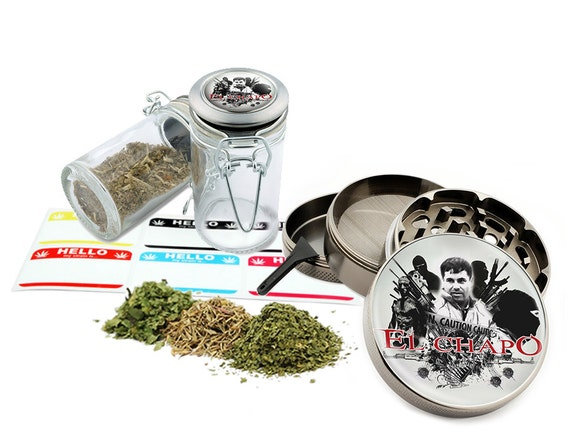 "El Chapo - 2.5"" Zinc Alloy Grinder & 75ml Locking Top Glass Jar Combo Gift Set Item # 50G011516-2"