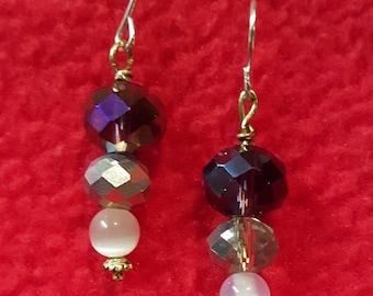 Handmade Purple & Clear Crystal Earrings