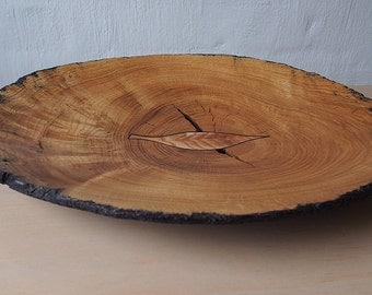 Oak  Bowl, Carved Solid Wood Bowl,Bowl With Inlay